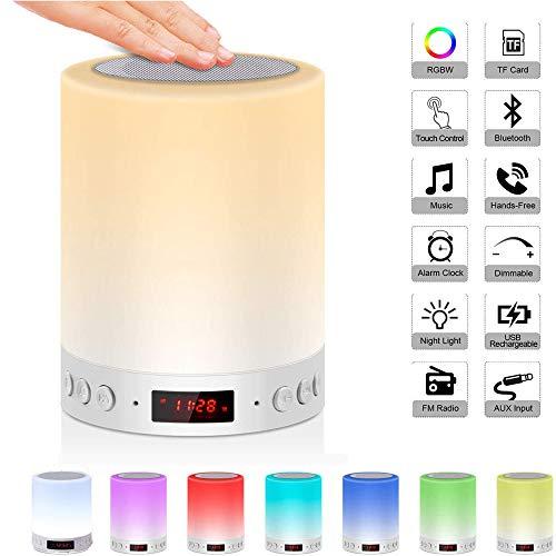 5 en 1 lámpara de noche recargable portátil con luz de noche, lámpara de mesa Bluetooth altavoz Música...