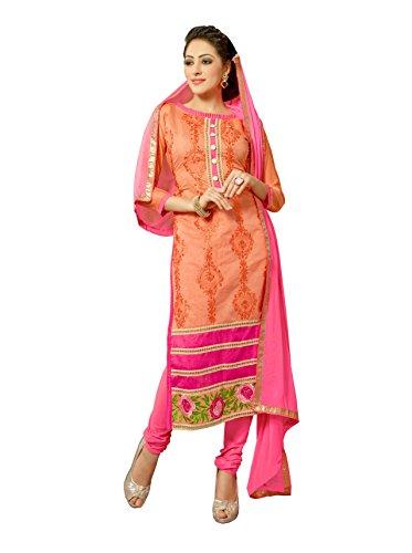 Blissta Orange Chanderi Embroidered Party Wear Dress Material