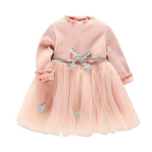 Coupon Matrix - 2018 [Clearance! Hot Sale] [Christmas Gifts] Infant Toddler Baby Kids Girls Long Sleeve Star Stitching Bandage Romper Clothes Party Princess Dresses Newborn Outfits Mini Dress (Pink, 18-24 Months)