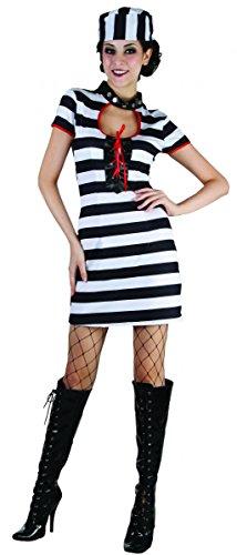 Sexy Gefangenen Damenkostüm Verbrecherin schwarz-weiss-rot (Und Kostüme Gefangener Polizist Sexy)