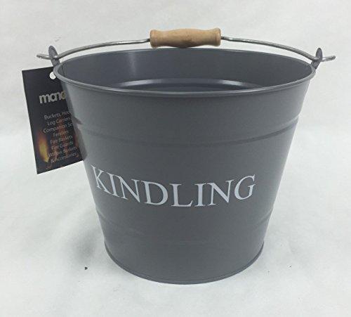 Manor Reproductions Fireside Kindling Carry Bucket Log/Coal Holder Small | Grey - Poliert Eisen Kamin