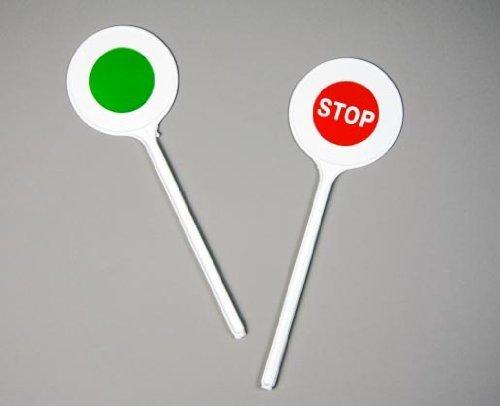 Polizei-Kelle Kostüm-Accessoire weiss-rot-grün 30x10cm Einheitsgröße