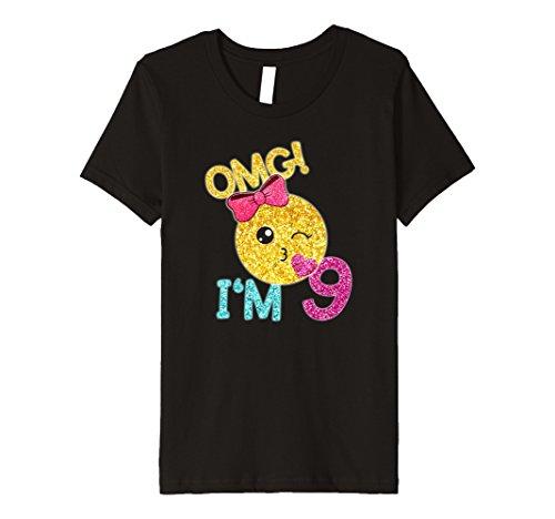 Emoticon Kids Birthday Shirts Gifts Kinder 9 Geburtstag Kiss Emoji T Shirt OMG I M