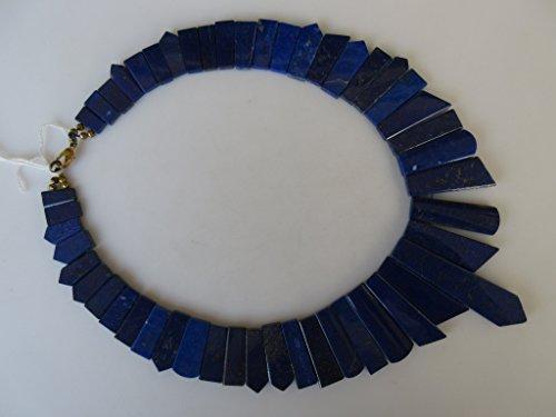 Bleu naturel mise en lapis lazuli Collier, collier plastron, collier, collier de dégradé Collier, 12 x 6 mm pour 57 x 14 mm, 43,2 cm, Gds968