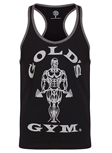 Golds Gym Gameworld Muscle Joe Contrast Camiseta Hombre, Negro, M