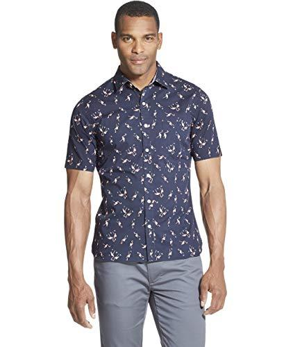 Van Heusen Herren Never Tuck Slim Fit Short Sleeve Shirt Button Down Hemd, Dark Sea Navy, X-Groß -
