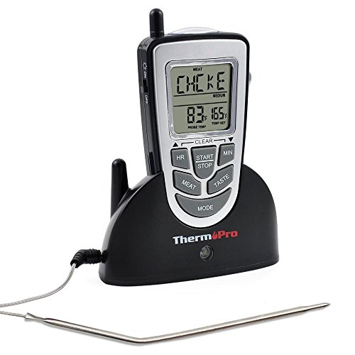 ThermoPro Electric Wireless Digital Food Cooking Meat BBQ Grill Oven Smoker Thermometer with Timer Black