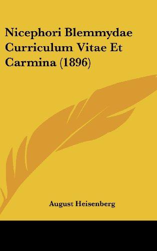 Nicephori Blemmydae Curriculum Vitae Et Carmina (1896)