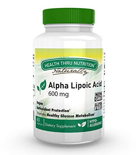 Acido Alfa Lipoico 600 mg 60 Vegecapsule - Vegano, Non OGM, Privo di glutine, Ipoallergenico (60)