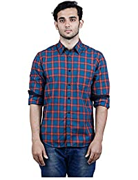 TORCY Men's Regular Fit Checked Casual Shirt (Green & Red)