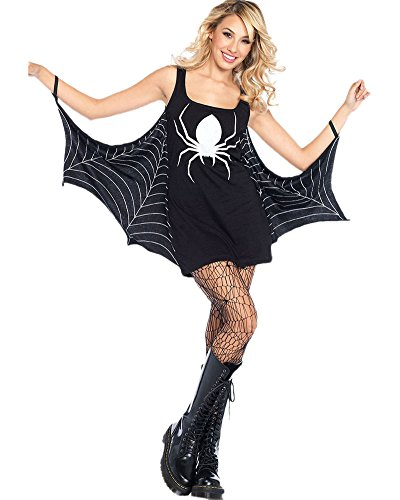 Romacci Damen Halloween Kostüm Spinne Kleid Low Neck Rolle Spielen Seductress Mini Fancy Dress Schwarz (Spinne Dame Kostüm)