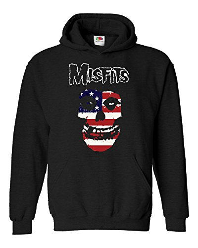 "Felpa Unisex ""Misfits - USA Flag"" - Felpa con cappuccio rock band LaMAGLIERIA, S, Nero"