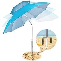 Paraguas portátil para playa, paraguas con protección UV, paraguas de refugio con anclaje de arena, paraguas de doble capa resistente al viento para viajes con inclinación de metal, aislamiento térmico, función antiultravioleta, utilizado en jardín, playa, piscinas, pesca, al aire libre, azul