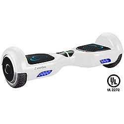 """SmartGyro X2 UL v.3.0 White - Potente Patinete Eléctrico Hoverboard, Ruedas de 6.5"""" Antipinchazos, Batería de Litio 4400 mAh, vel. Máxima 12 Km/h, Autonomía de 20 Km, Certificado UL, Color Blanco"""