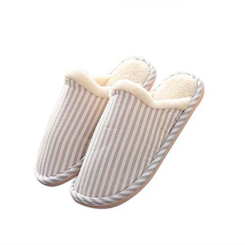 Zantec doux Coton confortable antidérapant Chaussons pour homme femme Bande de semelles dhiver en plein air Intérieur Chaussons, Red, 36/37 Kaki