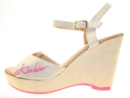 More Styling , chaussures compensées femme Beige - Beige