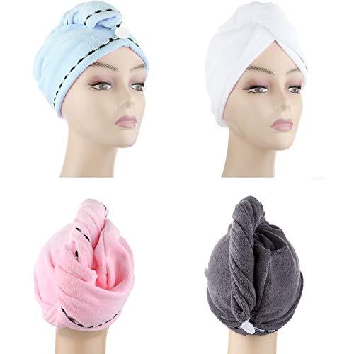 DHMAKER Turban Haartrockentuch, Microfaser Handtücher Schnelltrocknend saugfähig Haar Trocknendes Tuch für Mädchen Frauen Kinder