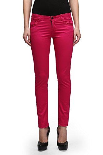 Miss Wow Slim Fit Colored Denim Jeans for Women (MAJ1074_Majenta_28)