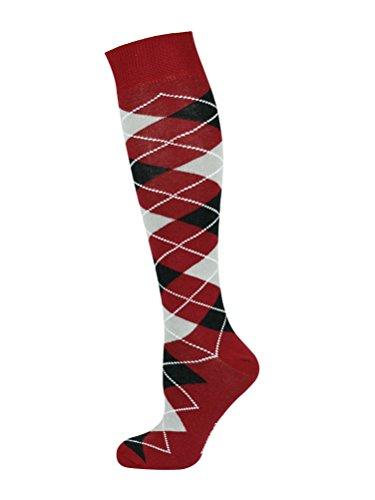 Mysocks® Kniehohe Argyle Socken Burgunder schwarze asche (Fashion Argyle Socken)
