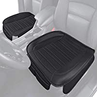 ‏‪Motor Trend MTSC-420 Black Universal Car Seat Cushion (Front, 2-Pack) – Padded Luxury Cover with Non-Slip Bottom & Storage Pockets Faux Leather Chair Protector for Auto, Truck & SUV‬‏