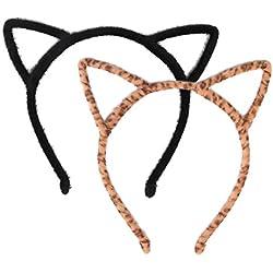 Diadema de Orejas de Gato Banda de Pelo para Fiesta y Decoración Diaria, Negro y Leopardo, 2 Piezas