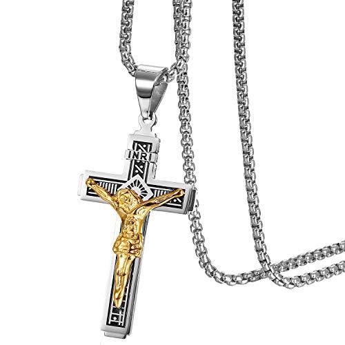 Herren Kreuz Halskette mit Anhänger, Vintage Biker Edelstahl Jesus Kruzifix Anhänger mit Ketten 56cm, Silber Gold