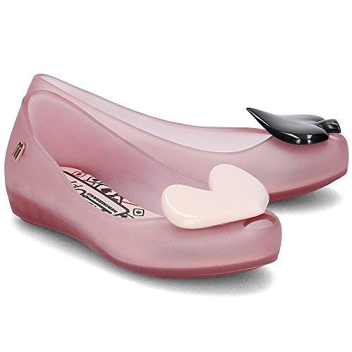 Melissa Kids Alice In Wonderland Ultragirl Plastic Slip On Flat Blush Heart Pink