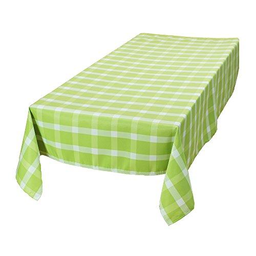 """Outdoor-Tischdecke """"Apfelgrün"""", groß abwaschbar und schmutzabweisend, trendiges Karomuster in frischem Grünton und neutralem Weiß, 100% Polyester 130 x 170 cm"""