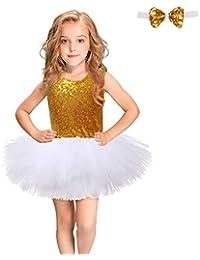 Havanadd Vestido de Fiesta de los niños Princesa Fiesta Niñas sin Mangas con Lentejuelas Vestido de Princesa Vestido de tutú Falda Traje Traje (Enviar Pajarita) (Color : Blanco, tamaño : 5-6T)