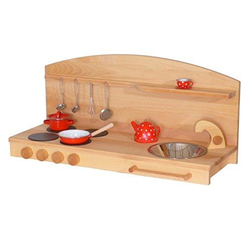 Kinder-Holz-Spielküche 1035BG - Tisch-Kinderküche - Herd Spüle - Spielhauszubehör -