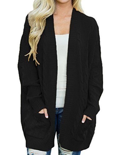 BIUBIONG Donna Cardigan Magalieria Cappotto Lungo Manica Lunga Caldo Trench Coat Parka Oversize Outwear Autunno Inverno Nero