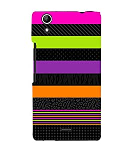 Fiobs Designer Back Case Cover for Micromax Canvas Selfie 2 Q340 (Pink Green Violet Orange Band)