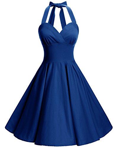 Bbonlinedress Neckholder 50er Vintage Pinup Retro Rockabilly Kleid Cocktailkleider Royal Blue 2XL
