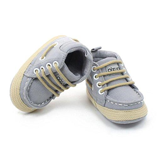 Clode® Mode filles tout-petits garçons lacent chaussures crèche baskets semelle souple (6~12 mois, Café) gris