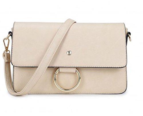LeahWard® Damen Faux Leder Kreuz Körper Taschen Nizza Kettenring Detail Nette Handtaschen Schultertaschen CW1046 (Aprikose Kreuzkörper)