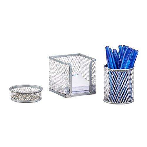 Relaxdays Schreibtisch Organizer 3er Set Metall, Schreibtisch-Set, Büroset Mesh, Zettelbox, zwei Köcher, silber -