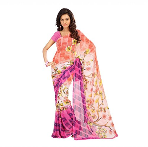 Shaktideal Dailywear light weight printed sarees cream and yellow