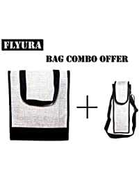 Flyura 1 Pocket Jute Tote Lunch Bag With Free Water Bottle Carry Bag Cover With Shoulder Strap (White & Black)