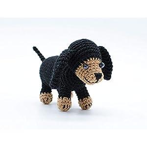Angefüllter handgemachter Dachshund Welpe, schwarzes kleines Haustier Geschenk