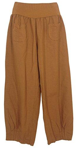 Pantaloni lino Donna, Made in Italy Camel