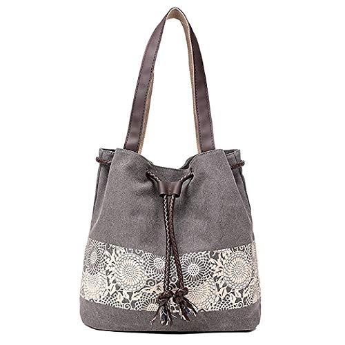 DNFC Damen Handtasche Canvas Schultertasche Umhängetasche Damen Shopper Tasche Schöne Vintage Henkeltasche Beuteltasche (Grau)