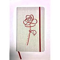 Libreta personalizada con rosa y dedicatoria.Cubierta forrada de tela. Regalo/Bodas/