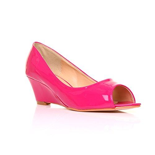 ShuWish UK - Chaussure femme fille cuir verni PU Fuchsia Talon Mi Haut Verni fuchsia