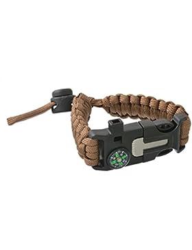 Survival Armband Überlebensausrüstung Paracord Überlebens-Armband mit Kompass Feuerstein Pfeife Schaber Fallschirm...