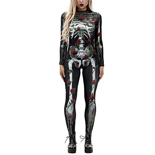 Mitlfuny Skelett Overall Damen Knochen Skeleton Halloween KostüM Bodysuit FüR Damen, Weiches und Atmungsaktives Material, Tragbar, ()