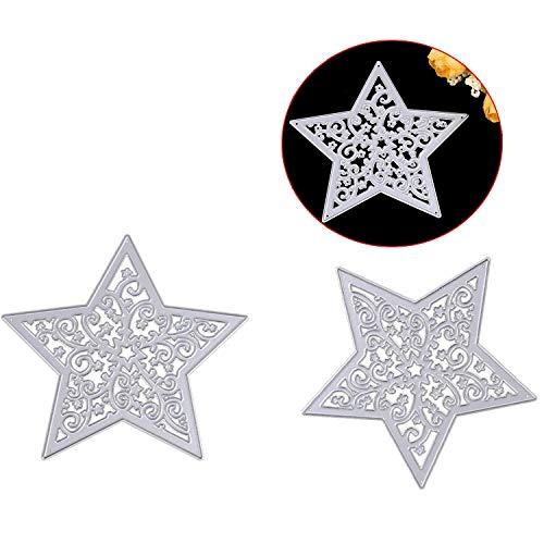 Wohlstand Metall Stanzformen Schneeflocke Stern Stanzformen Stempel Prägeschablone für DIY Handwerk Album Papier Karte-2 Stück -
