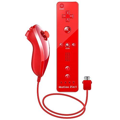 WII Controller Motion Plus, XW15 Nintendo WII Ferbedienung und Nunchuk mit Silikonhülle und Handschlaufe für WII und WII U Rot