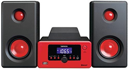 Lenco Stereoanlage MC-020 Kompaktanlage  mit Bluetooth, USB und UKW-Radio (Weckfunktion, USB-Lader, Aux, Kopfhörerbuchse) 2 x 5 Watt (RMS), Rot Rote Mini-system