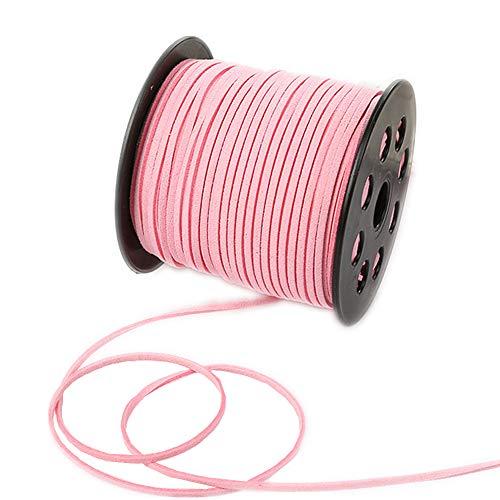 Cordón de encaje de ante sintético de 100 yardas con cordón de terciopelo suave para pulseras, collares, cabezas, joyas, atrapasueños, suministros de envoltura de regalo, rosa, 100yardsx2.7mm