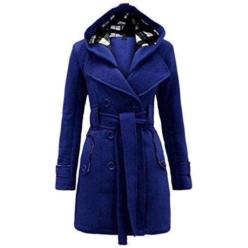 China Palaeowind Frau Plaid Mit Kapuze Zweireihigen Wollmantel Langen Mantel SapphireBlue